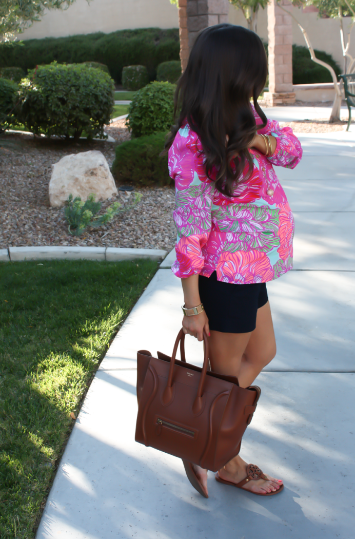 Pink Printed Silk Blouse, Navy Shorts, Brown Leather Tote, Brown Sandals, Lilly Pulitzer, J.Crew Factory, Celine, Tory Burch 5