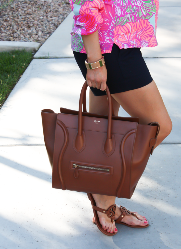 Pink Printed Silk Blouse, Navy Shorts, Brown Leather Tote, Brown Sandals, Lilly Pulitzer, J.Crew Factory, Celine, Tory Burch 6