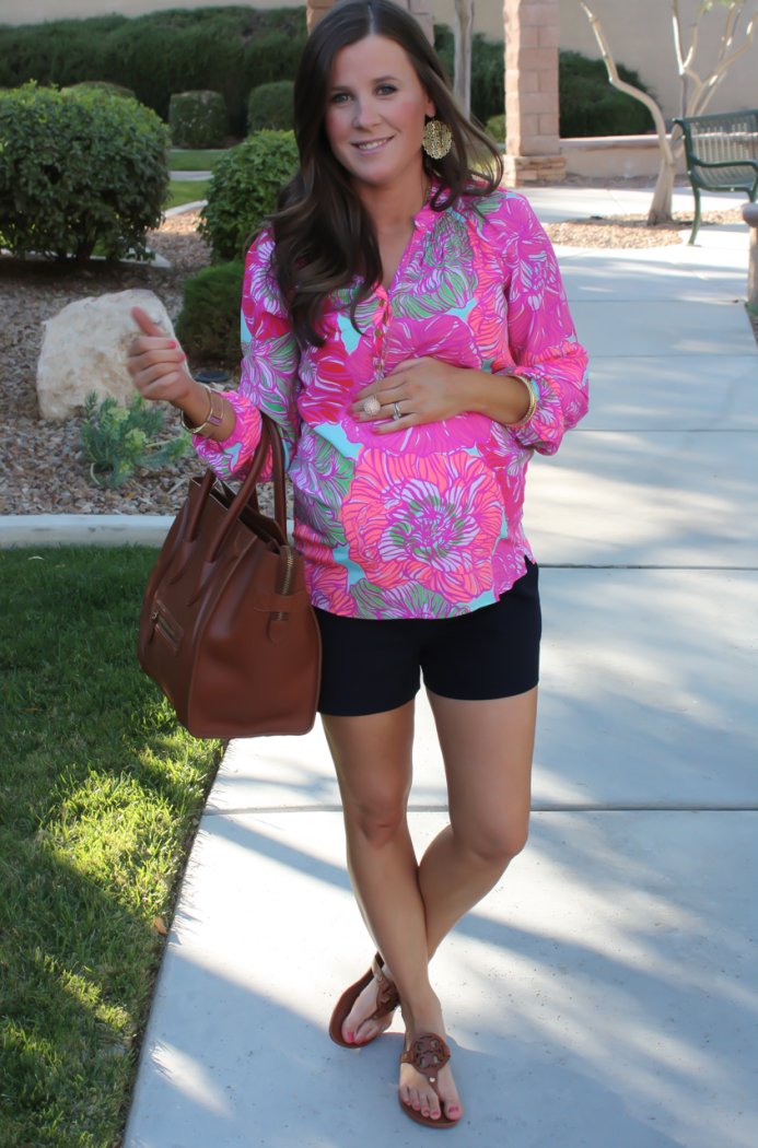 Pink Printed Silk Blouse, Navy Shorts, Brown Leather Tote, Brown Sandals, Lilly Pulitzer, J.Crew Factory, Celine, Tory Burch