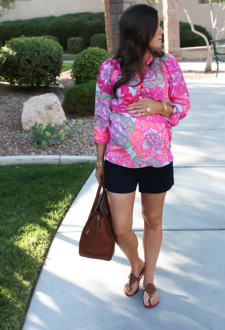 Pink Printed Silk Blouse, Navy Shorts, Brown Leather Tote, Brown Sandals, Lilly Pulitzer, J.Crew Factory, Celine, Tory Burch 7