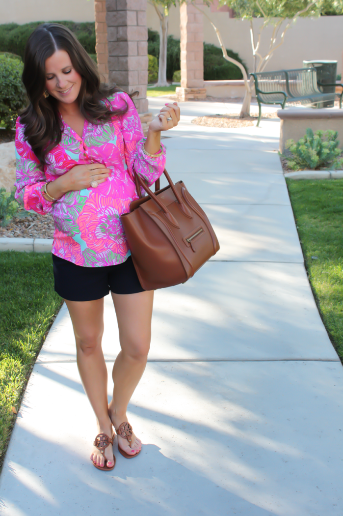 Pink Printed Silk Blouse, Navy Shorts, Brown Leather Tote, Brown Sandals, Lilly Pulitzer, J.Crew Factory, Celine, Tory Burch 8