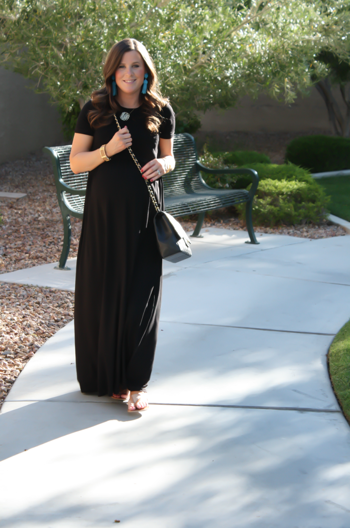 Black Maternity Maxi Dress, Tan Sandals, Black Quilted Chain Strap Bag, Turquoise Tassel Earrings, ASOS, ASOS Maternity, Joie, Chanel, Lisi Lerch 12
