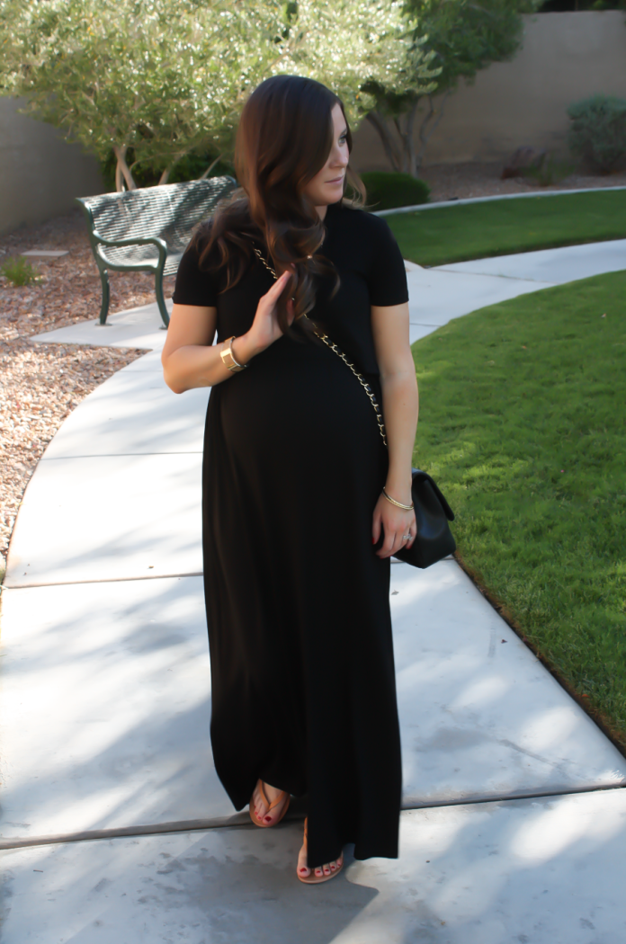 Black Maternity Maxi Dress, Tan Sandals, Black Quilted Chain Strap Bag, Turquoise Tassel Earrings, ASOS, ASOS Maternity, Joie, Chanel, Lisi Lerch 2