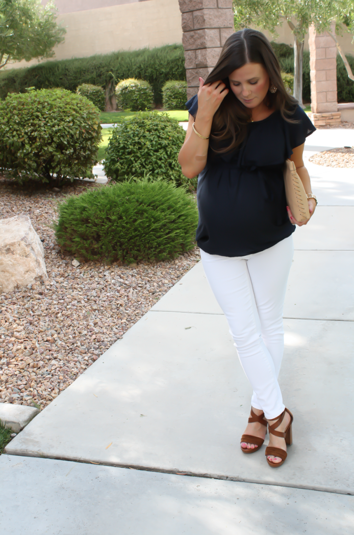 Navy Ruffle Collar Maternity Blouse, White Maternity Skinny Jeans, Brown Suede Sandals, Tan Leather Clutch, ASOS, ASOS Maternity, J.Crew, M. Gemi 4