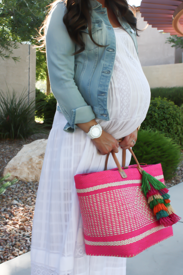 Summer Style, White Maxi Dress, Light Wash Denim Jacket, Tan Sandales, Pink Straw Tote, Bloomingdales, BCBG Max Azria 11