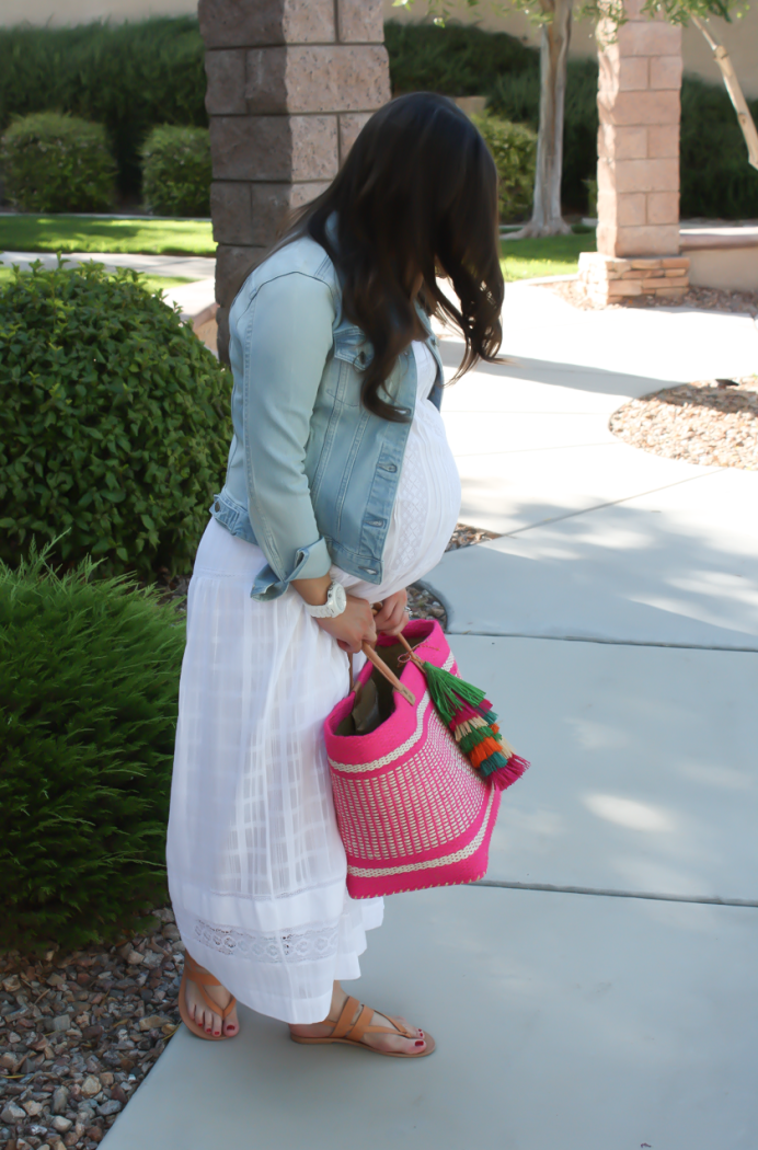 Summer Style, White Maxi Dress, Light Wash Denim Jacket, Tan Sandales, Pink Straw Tote, Bloomingdales, BCBG Max Azria 5