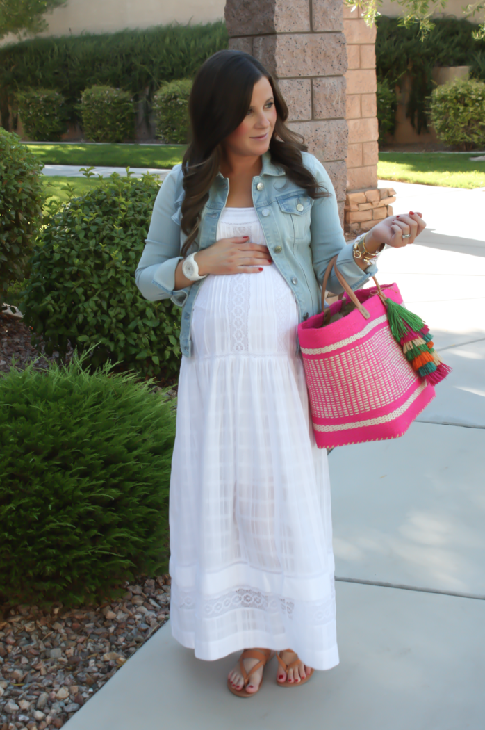 Summer Style, White Maxi Dress, Light Wash Denim Jacket, Tan Sandales, Pink Straw Tote, Bloomingdales, BCBG Max Azria