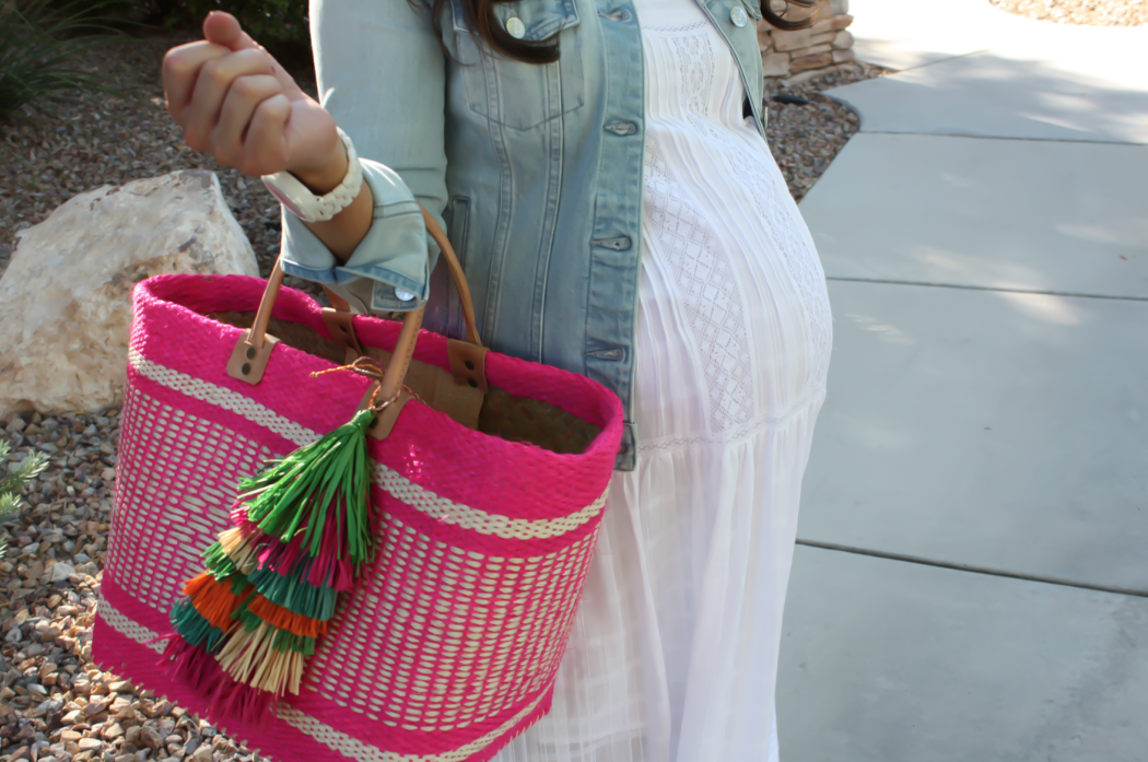 Summer Style, White Maxi Dress, Light Wash Denim Jacket, Tan Sandales, Pink Straw Tote, Bloomingdales, BCBG Max Azria 8