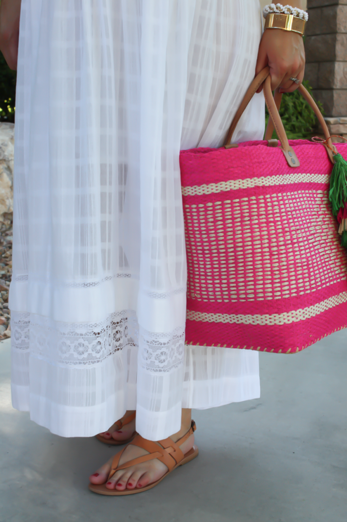 Summer Style, White Maxi Dress, Light Wash Denim Jacket, Tan Sandales, Pink Straw Tote, Bloomingdales, BCBG Max Azria 9