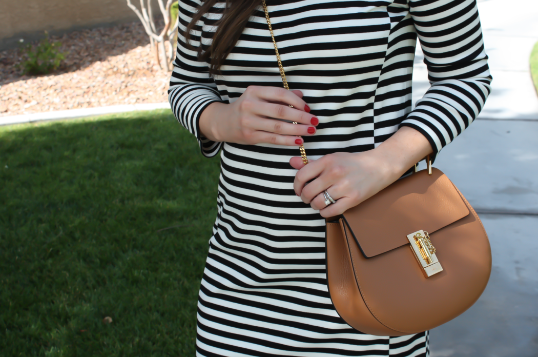 Black and Ivory Striped Dress, Cognac Chain Strap Crossbody Bag, Cognac Peep Toe Booties, J.Crew Factory, Chloe, Paul Green 2