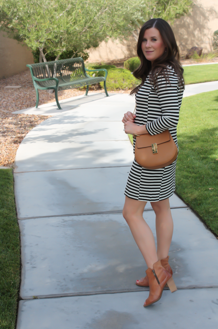Black and Ivory Striped Dress, Cognac Chain Strap Crossbody Bag, Cognac Peep Toe Booties, J.Crew Factory, Chloe, Paul Green 3