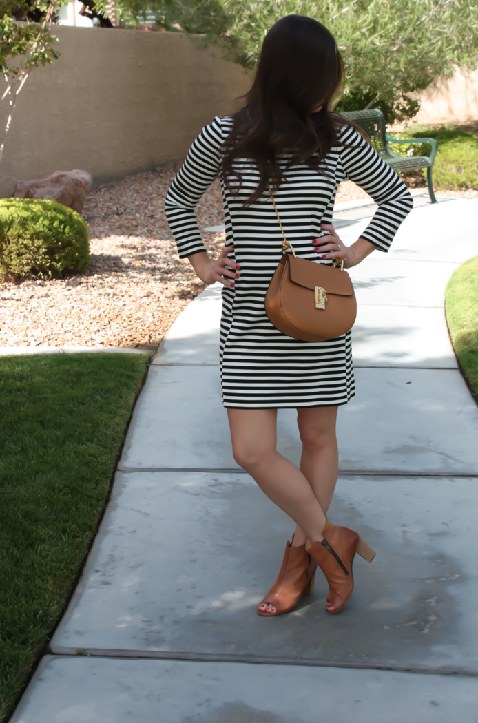 Black and Ivory Striped Dress, Cognac Chain Strap Crossbody Bag, Cognac Peep Toe Booties, J.Crew Factory, Chloe, Paul Green 4