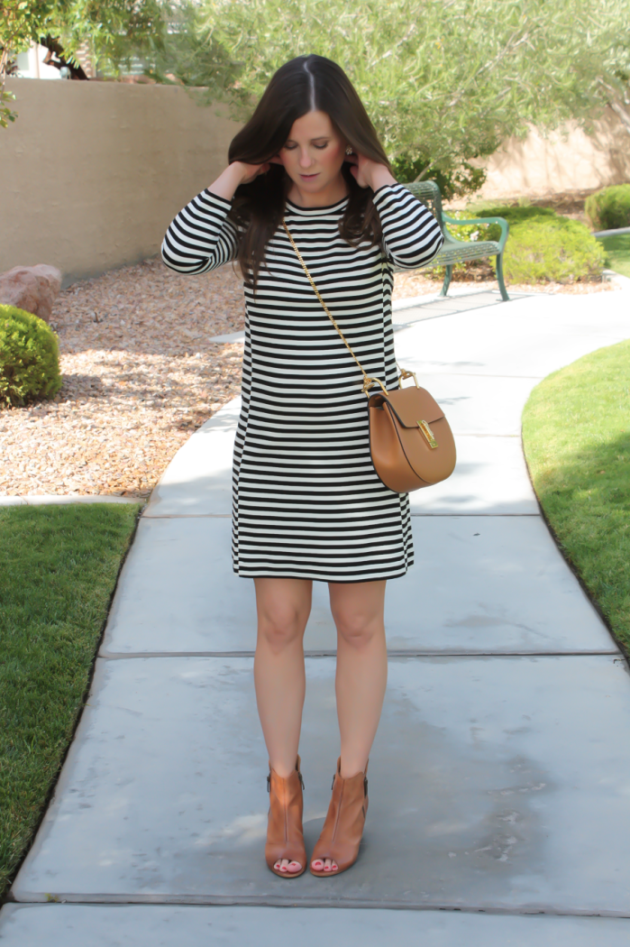 Black and Ivory Striped Dress, Cognac Chain Strap Crossbody Bag, Cognac Peep Toe Booties, J.Crew Factory, Chloe, Paul Green 5