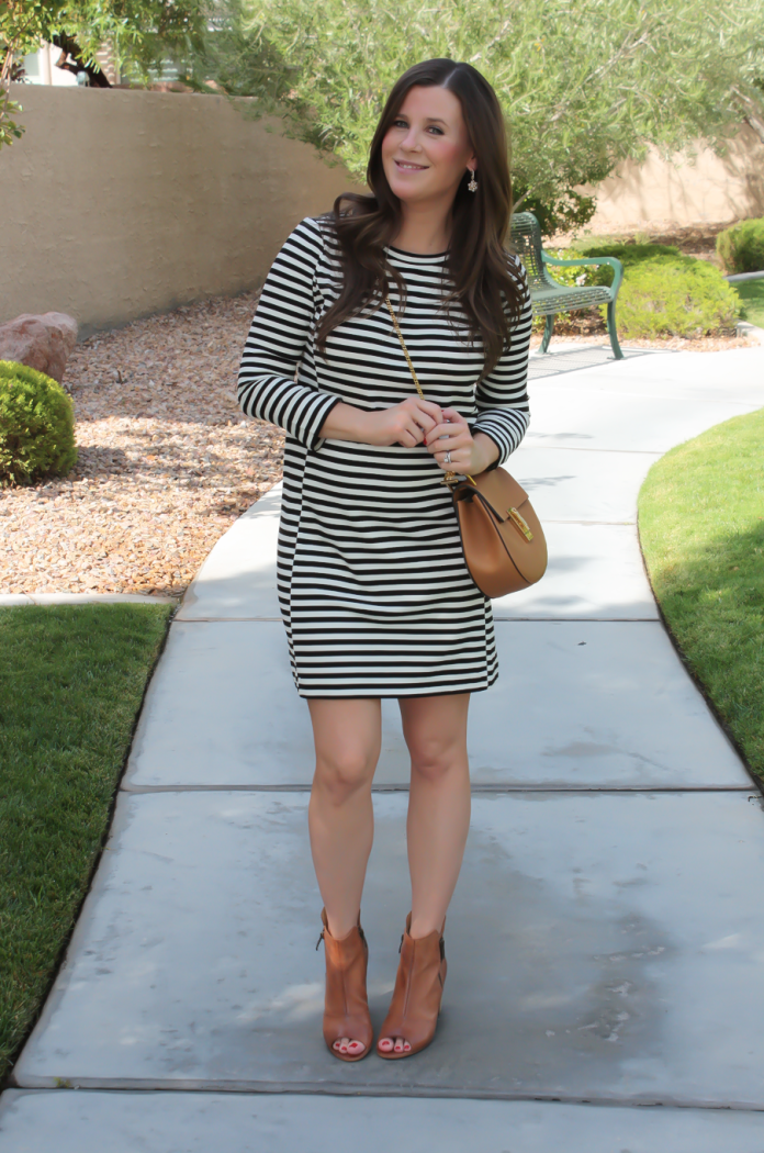 Black and Ivory Striped Dress, Cognac Chain Strap Crossbody Bag, Cognac Peep Toe Booties, J.Crew Factory, Chloe, Paul Green