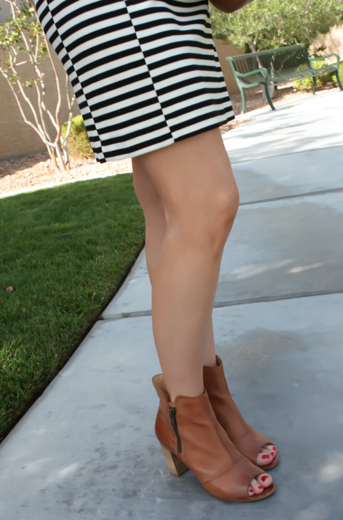 Black and Ivory Striped Dress, Cognac Chain Strap Crossbody Bag, Cognac Peep Toe Booties, J.Crew Factory, Chloe, Paul Green 7