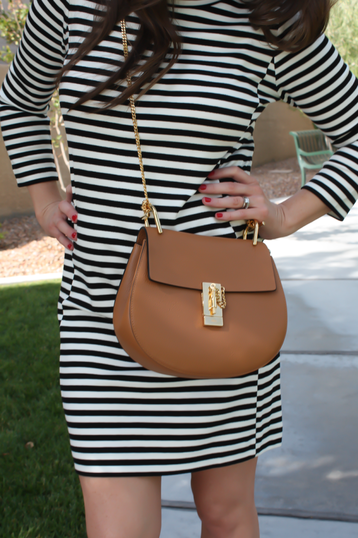 Black and Ivory Striped Dress, Cognac Chain Strap Crossbody Bag, Cognac Peep Toe Booties, J.Crew Factory, Chloe, Paul Green 8