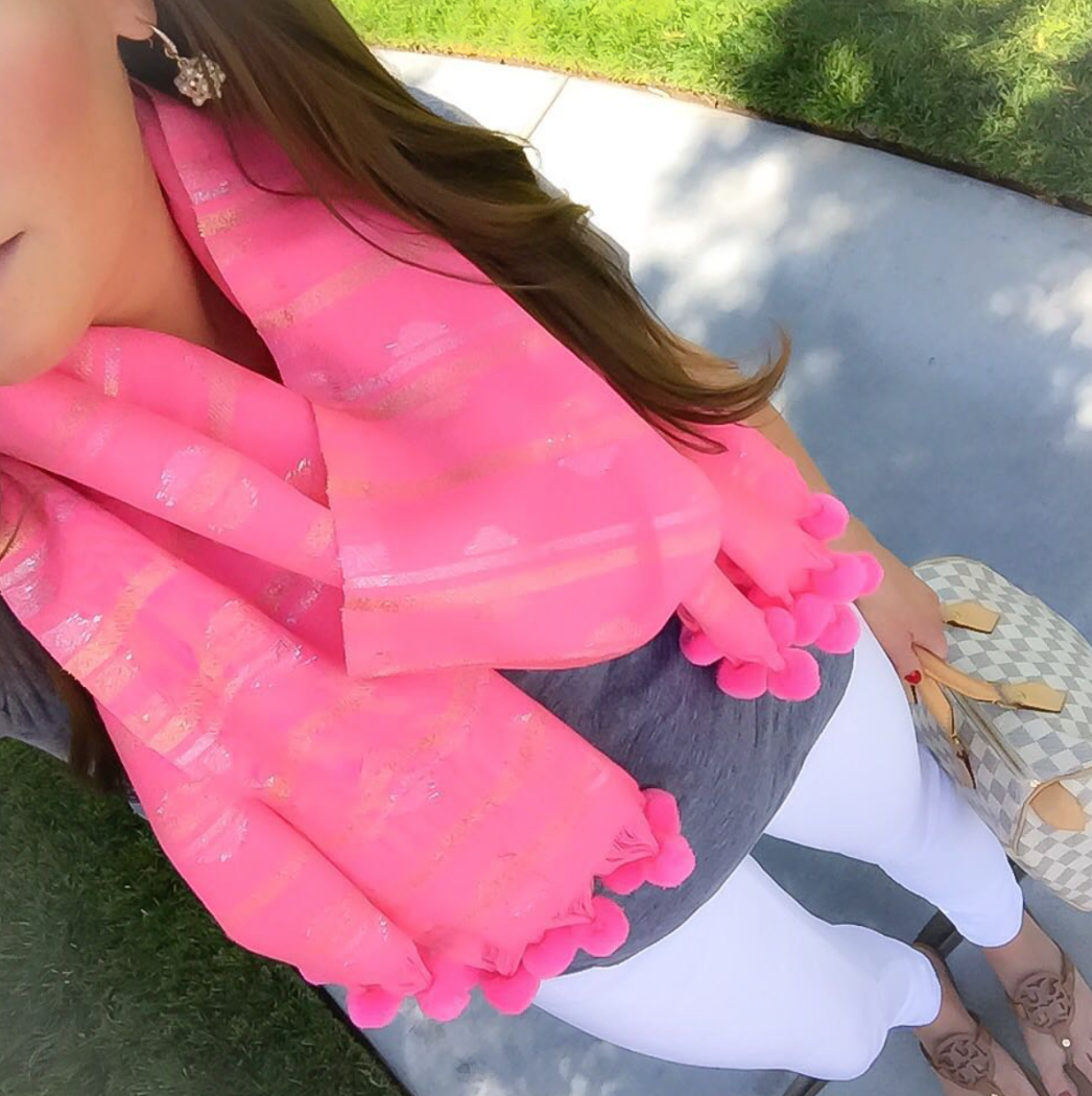 Pink Scarf, White Skinny Jeans, Grey Tee, Brown Sandals, Louis Vuitton Speedy