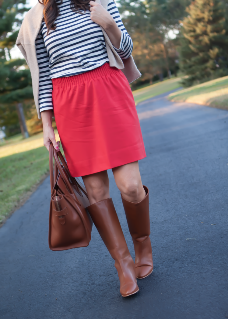 Blue Striped Shirt, City Mini Red Skirt, Cashmere Boatneck Sweater, Brown Leather Tall Boots, Brown Tote, J.Crew, Loeffler Randall, Celine
