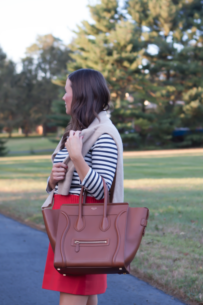 Blue Striped Shirt, City Mini Red Skirt, Cashmere Boatneck Sweater, Brown Leather Tall Boots, Brown Tote, J.Crew, Loeffler Randall, Celine 3