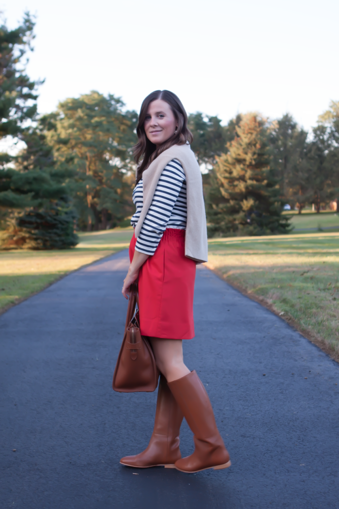 Blue Striped Shirt, City Mini Red Skirt, Cashmere Boatneck Sweater, Brown Leather Tall Boots, Brown Tote, J.Crew, Loeffler Randall, Celine 5