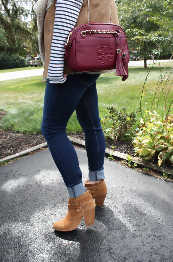 Faux Sherpa Vest, Striped Tee, Dark Rinse Skinny Jeans, Brown Suede Booties, Cranberry Crossbody Bag, Velvery and Graham, J.Crew, 7 for All Mankind, Rag and Bone 2