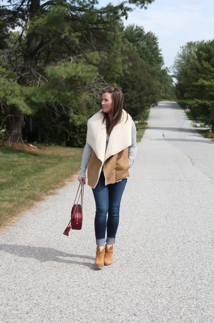 Faux Sherpa Vest, Striped Tee, Dark Rinse Skinny Jeans, Brown Suede Booties, Cranberry Crossbody Bag, Velvery and Graham, J.Crew, 7 for All Mankind, Rag and Bone 3