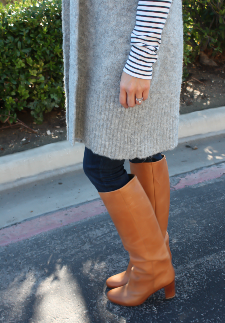 Grey Sleeveless Cardigan Sweater, Long Sleeve Navy Striped Tee, Skinny Jeans, Tall Brown Boots, Loft, J.Crew, Current Elliott, Maison Margiela 21