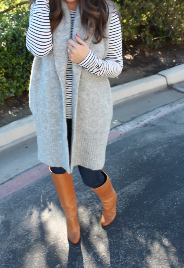 Grey Sleeveless Cardigan Sweater, Long Sleeve Navy Striped Tee, Skinny Jeans, Tall Brown Boots, Loft, J.Crew, Current Elliott, Maison Margiela 22