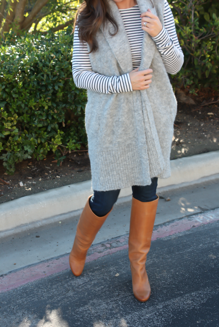 Grey Sleeveless Cardigan Sweater, Long Sleeve Navy Striped Tee, Skinny Jeans, Tall Brown Boots, Loft, J.Crew, Current Elliott, Maison Margiela 8