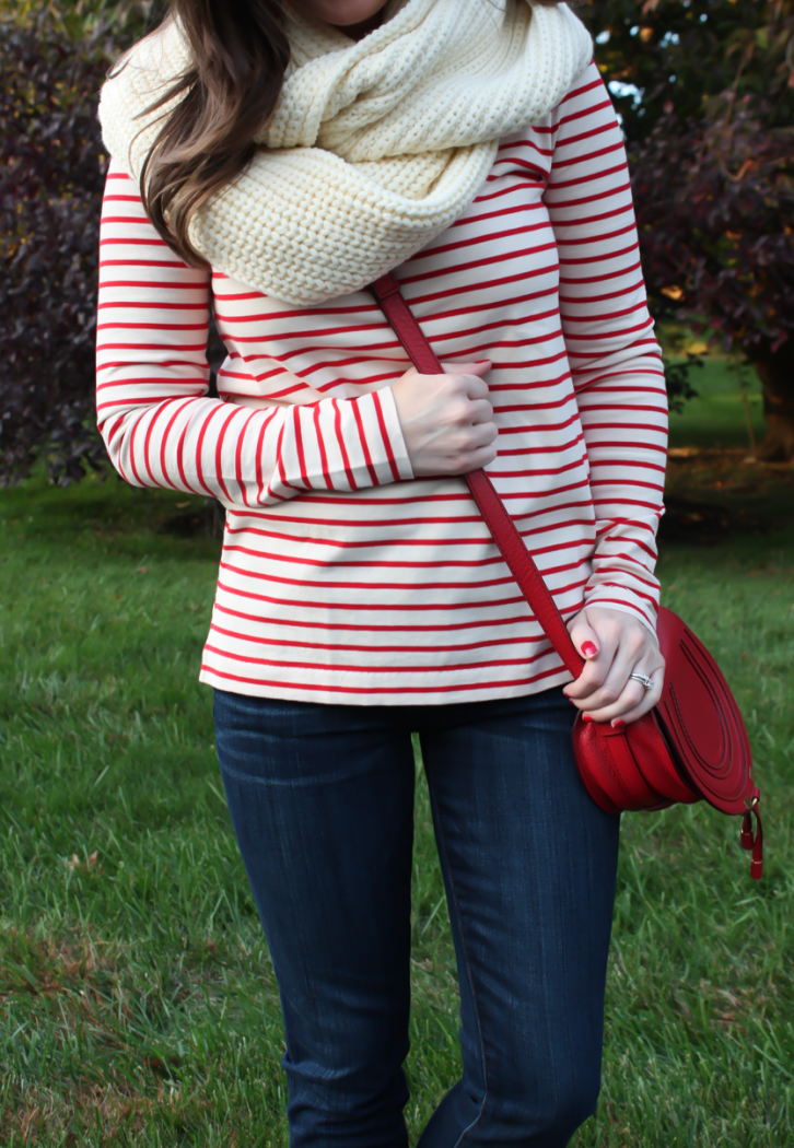 Skinny Ankle Jeans, Red and Ivory Striped Shirt, Ivory Infinity Scarf, Red Crossbody Bag, Cognac Booties, Current Elliott, J.Crew Factory, Chloe, Rachel Comey 10