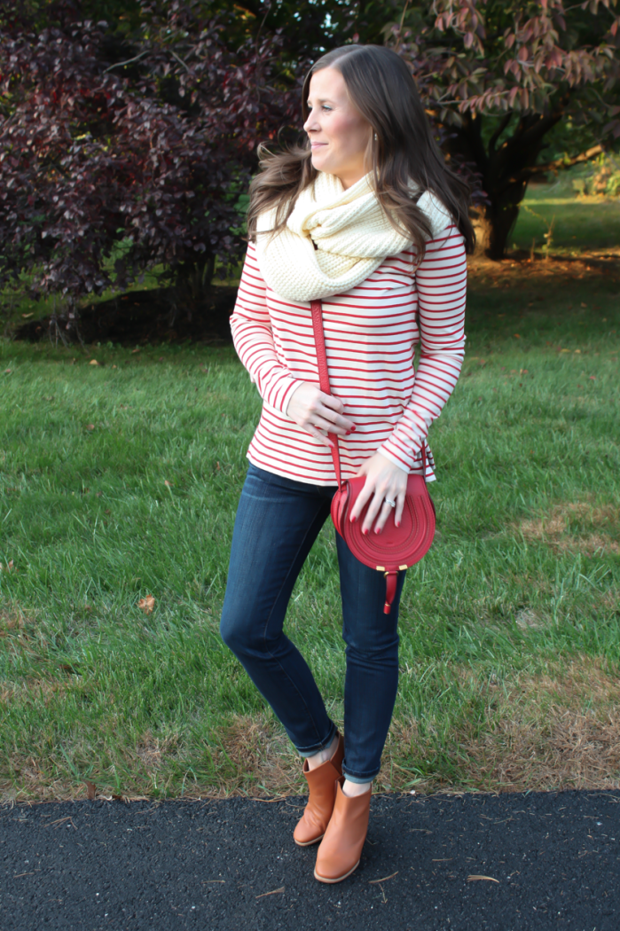 Skinny Ankle Jeans, Red and Ivory Striped Shirt, Ivory Infinity Scarf, Red Crossbody Bag, Cognac Booties, Current Elliott, J.Crew Factory, Chloe, Rachel Comey 4