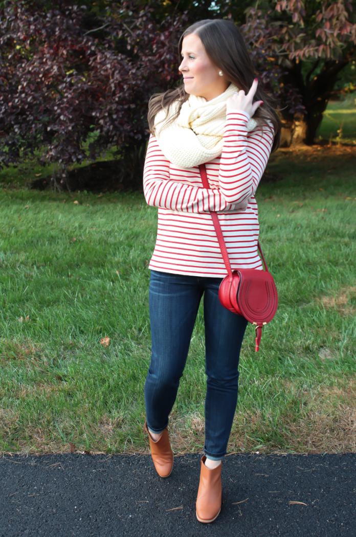 Skinny Ankle Jeans, Red and Ivory Striped Shirt, Ivory Infinity Scarf, Red Crossbody Bag, Cognac Booties, Current Elliott, J.Crew Factory, Chloe, Rachel Comey 5