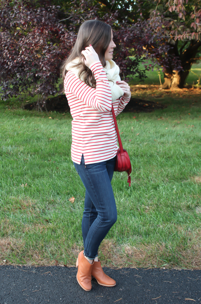 Skinny Ankle Jeans, Red and Ivory Striped Shirt, Ivory Infinity Scarf, Red Crossbody Bag, Cognac Booties, Current Elliott, J.Crew Factory, Chloe, Rachel Comey