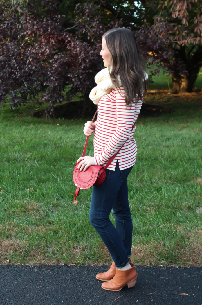 Skinny Ankle Jeans, Red and Ivory Striped Shirt, Ivory Infinity Scarf, Red Crossbody Bag, Cognac Booties, Current Elliott, J.Crew Factory, Chloe, Rachel Comey 7
