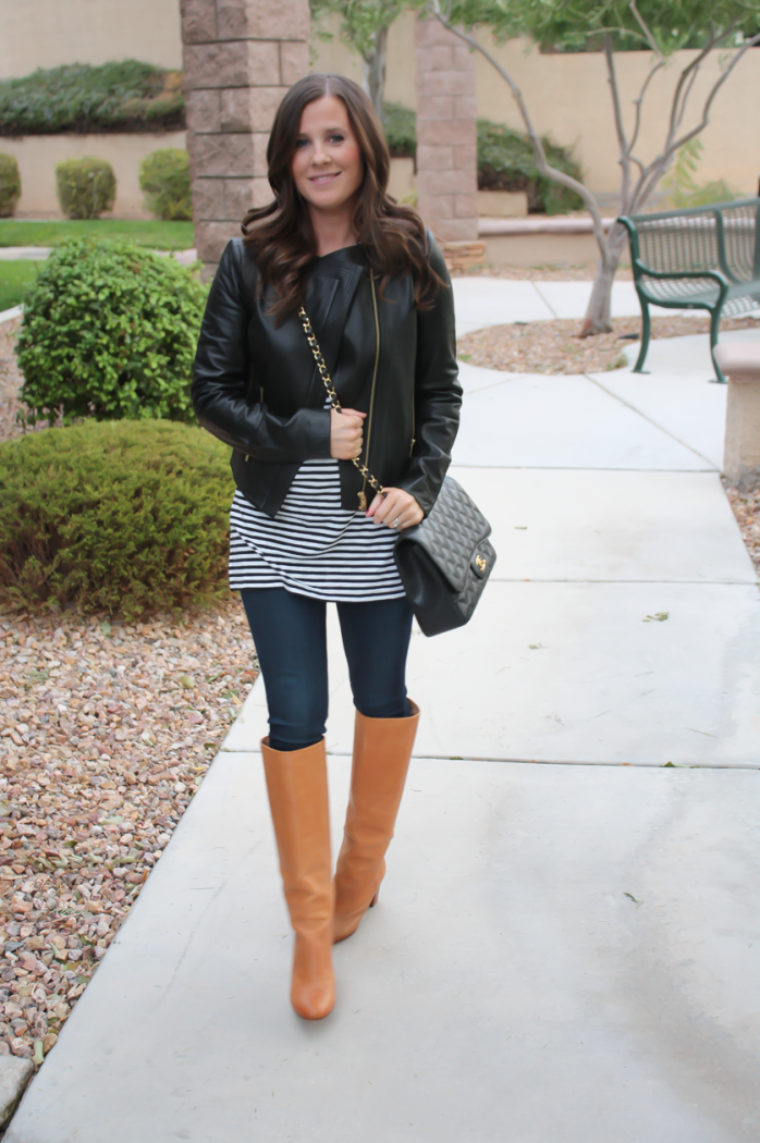 Black leather jacket and tan boots - New releases in the fashion ...