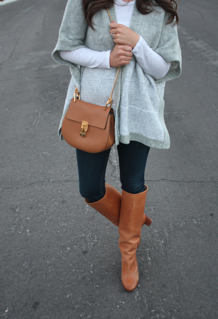Grey Sweater Wrap, Whit Long Sleeve Tee, Dark Rinse Skinny Jeans, Tall Cognac Leather Boots, Chain Strap Cross Body Bag, Banana Republic, Gap, Rag and Bone, Maison Margiela, Chloe