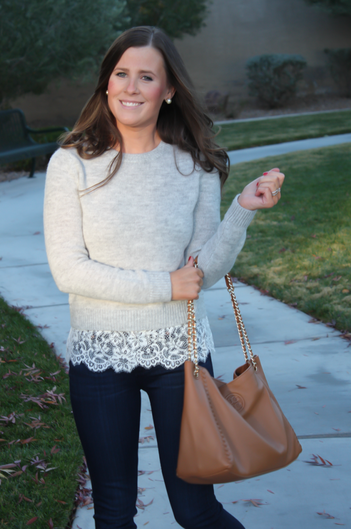 Lace Trim Grey Sweater, Dark Rinse Cropped Jeans, Tan Leather Flats, Tan Leather Tote, Club Monaco, Paige Jeans, Tory Burch 10