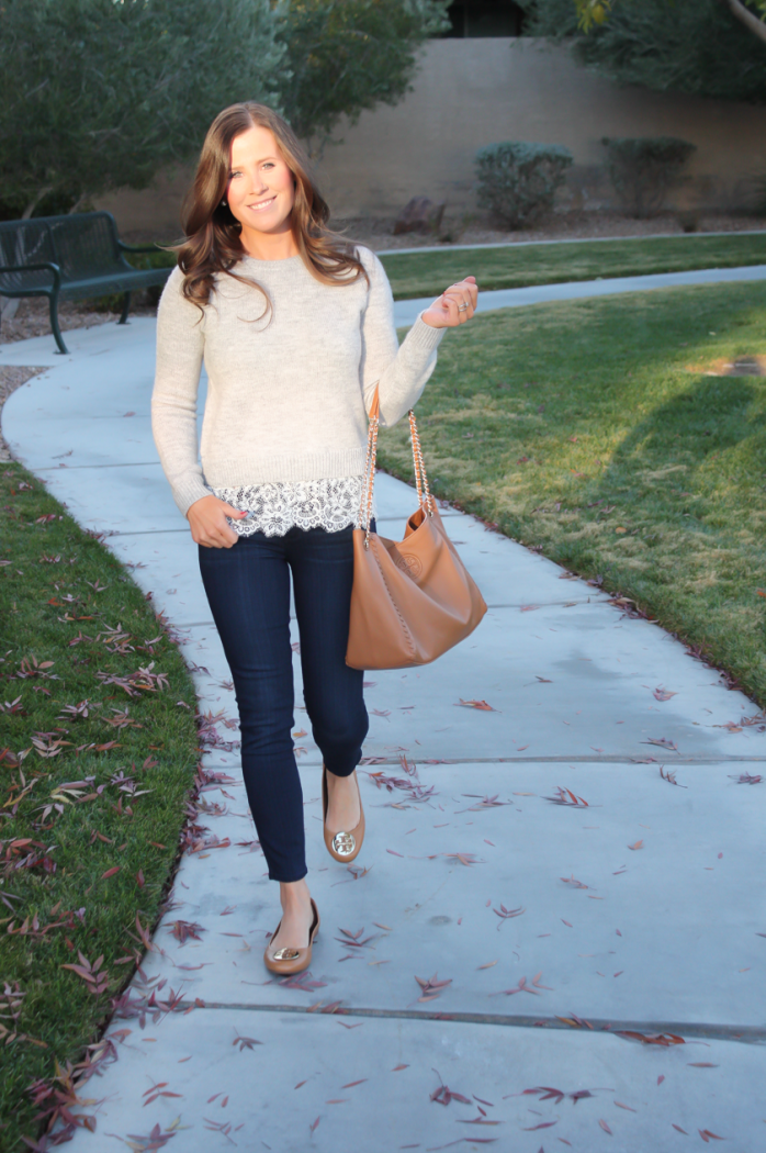 Lace Trim Grey Sweater, Dark Rinse Cropped Jeans, Tan Leather Flats, Tan Leather Tote, Club Monaco, Paige Jeans, Tory Burch 12