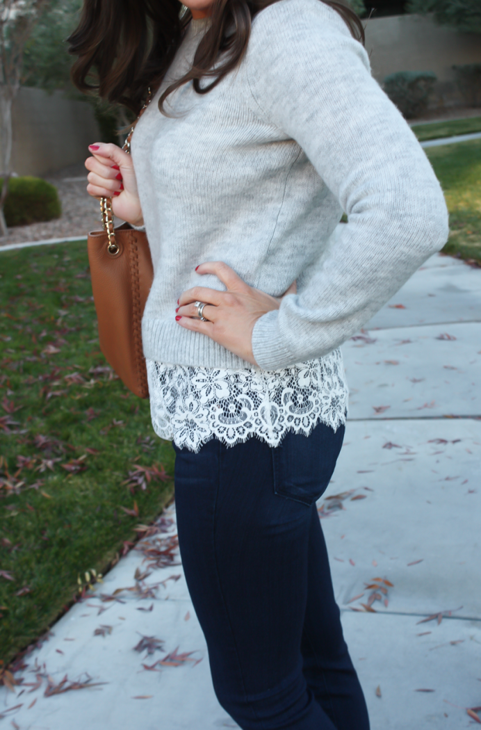 Lace Trim Grey Sweater, Dark Rinse Cropped Jeans, Tan Leather Flats, Tan Leather Tote, Club Monaco, Paige Jeans, Tory Burch 13
