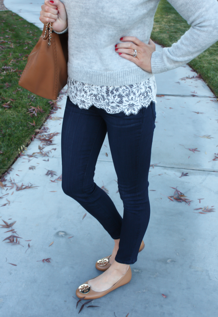 Lace Trim Grey Sweater, Dark Rinse Cropped Jeans, Tan Leather Flats, Tan Leather Tote, Club Monaco, Paige Jeans, Tory Burch 14