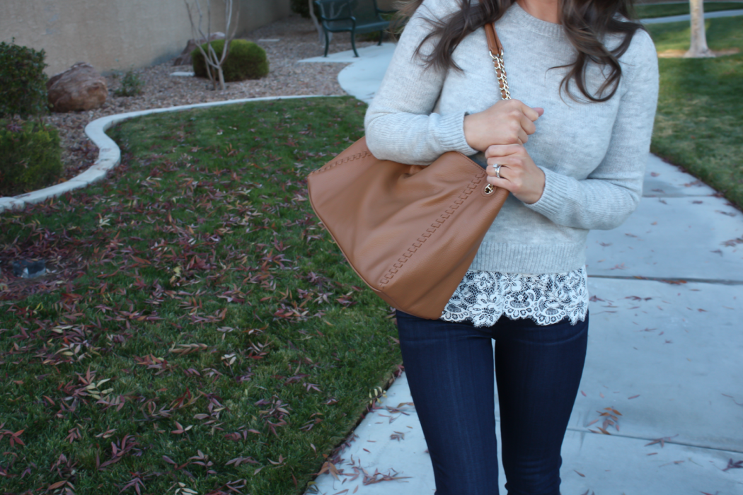 Lace Trim Grey Sweater, Dark Rinse Cropped Jeans, Tan Leather Flats, Tan Leather Tote, Club Monaco, Paige Jeans, Tory Burch 15
