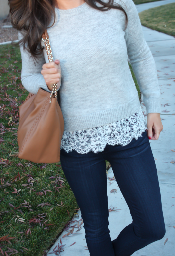 Lace Trim Grey Sweater, Dark Rinse Cropped Jeans, Tan Leather Flats, Tan Leather Tote, Club Monaco, Paige Jeans, Tory Burch 16