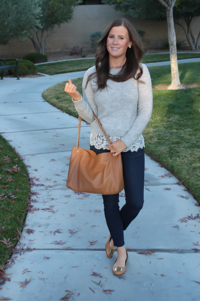 Lace Trim Grey Sweater, Dark Rinse Cropped Jeans, Tan Leather Flats, Tan Leather Tote, Club Monaco, Paige Jeans, Tory Burch 2