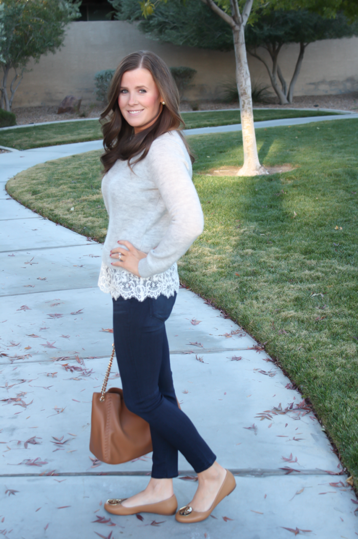 Lace Trim Grey Sweater, Dark Rinse Cropped Jeans, Tan Leather Flats, Tan Leather Tote, Club Monaco, Paige Jeans, Tory Burch 3