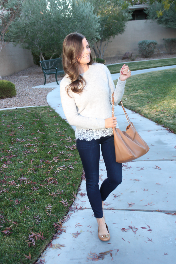 Lace Trim Grey Sweater, Dark Rinse Cropped Jeans, Tan Leather Flats, Tan Leather Tote, Club Monaco, Paige Jeans, Tory Burch 6