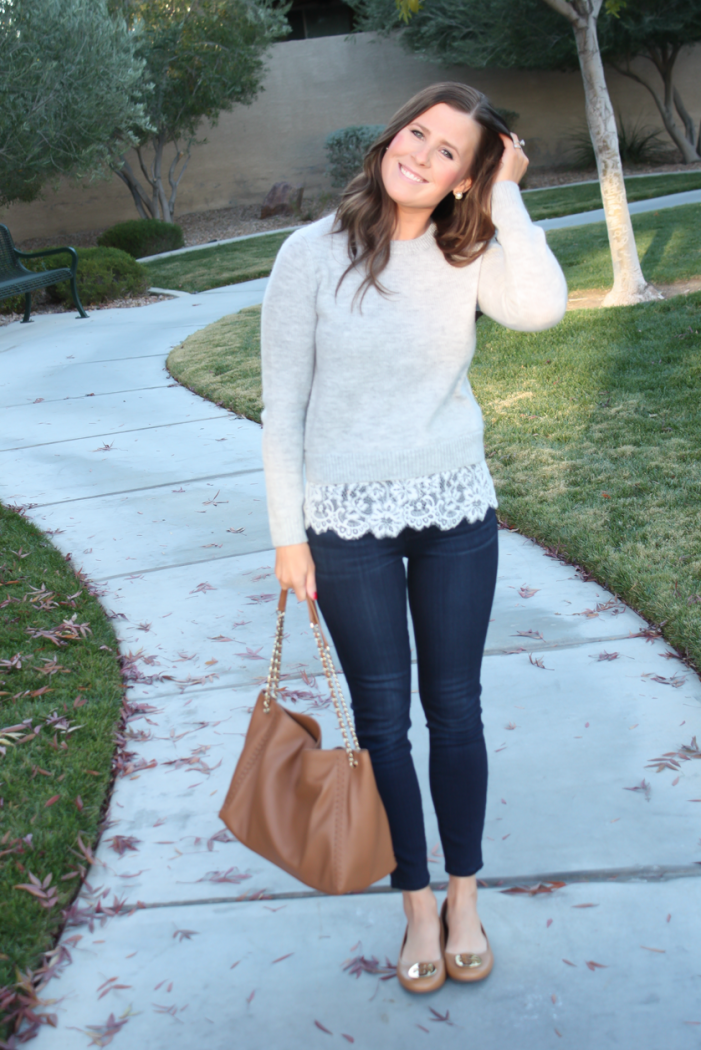 Lace Trim Grey Sweater, Dark Rinse Cropped Jeans, Tan Leather Flats, Tan Leather Tote, Club Monaco, Paige Jeans, Tory Burch 7