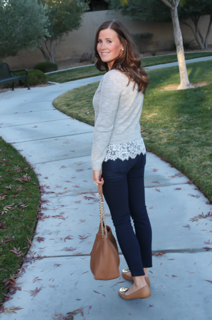 Lace Trim Grey Sweater, Dark Rinse Cropped Jeans, Tan Leather Flats, Tan Leather Tote, Club Monaco, Paige Jeans, Tory Burch 8