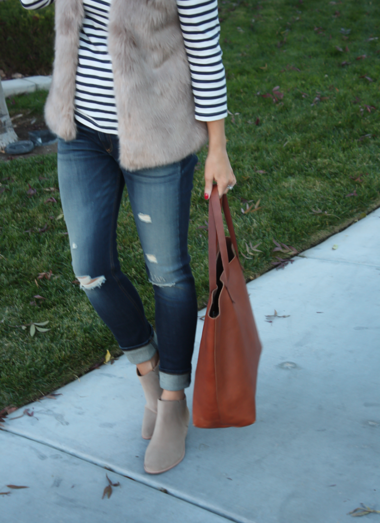 Light Brown Faux Fur Vest, Navy Striped Tee, Distressed Straight Leg Jeans, Tan Suede Booties, Joie, J.Crew, Rag and Bone, Madewell 10