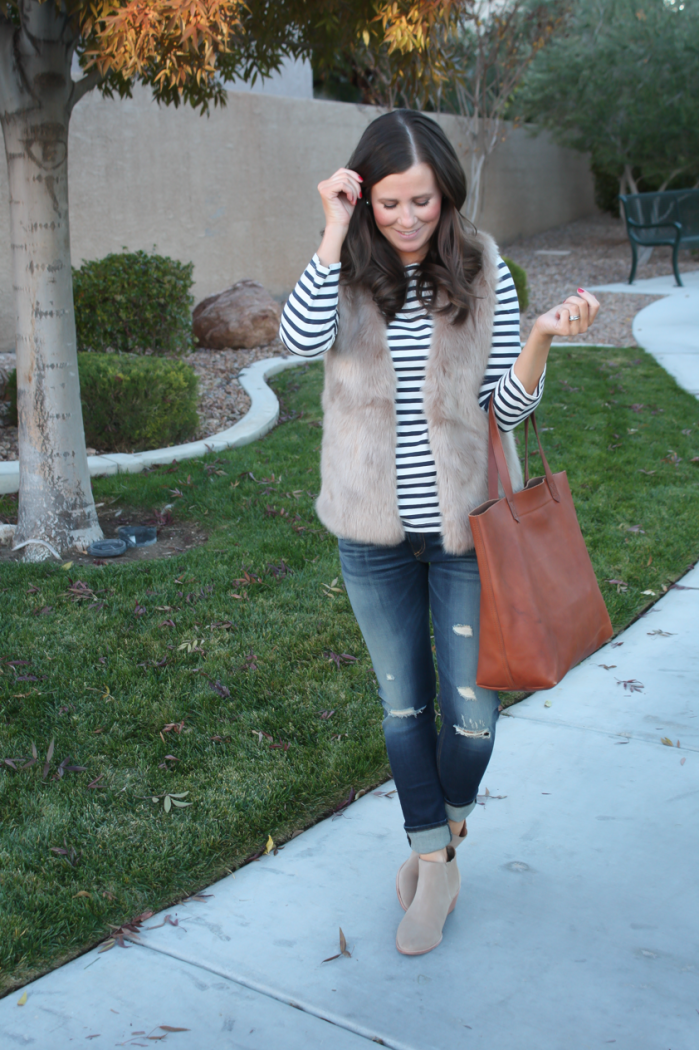 Light Brown Faux Fur Vest, Navy Striped Tee, Distressed Straight Leg Jeans, Tan Suede Booties, Joie, J.Crew, Rag and Bone, Madewell 19