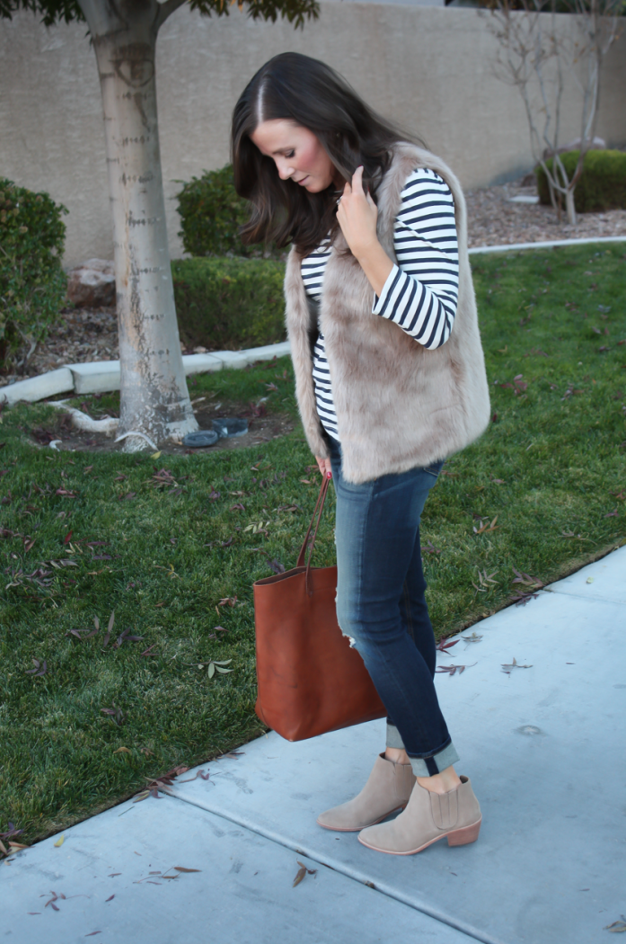 Light Brown Faux Fur Vest, Navy Striped Tee, Distressed Straight Leg Jeans, Tan Suede Booties, Joie, J.Crew, Rag and Bone, Madewell 2